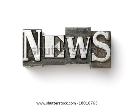 The word News photographed using a mix of vintage letterpress characters. - stock photo
