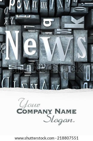 The word news written in print letter cases - stock photo