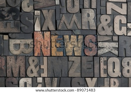 The word News written in very old letterpress type - stock photo