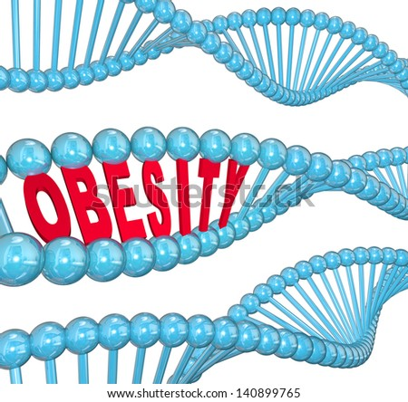 The word Obesity in red letters hidden within a blue DNA strand to illustrate the hereditary nature of fat and the condition of being very heavy - stock photo