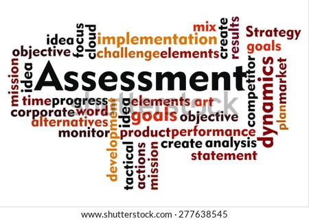 the word of assessment on collage word - stock photo