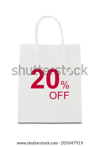 The word 20% off on shopping bag - stock photo