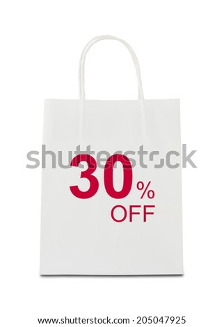 The word 30% off on shopping bag - stock photo