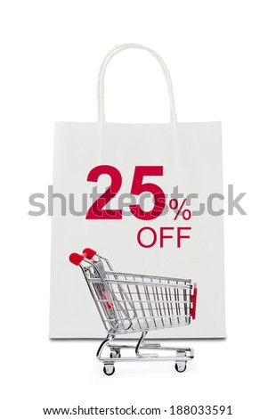 The word 25% off on shopping bag with shopping cart - stock photo