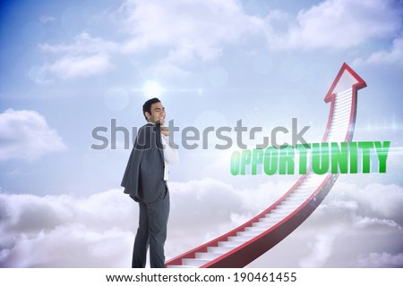 The word opportunity and smiling businessman standing against red stairs arrow pointing up against sky - stock photo