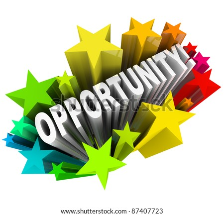 The word Opportunity arises in 3D from a burst of colorful stars, representing an exciting chance for change and possibility and potential for success and growth - stock photo