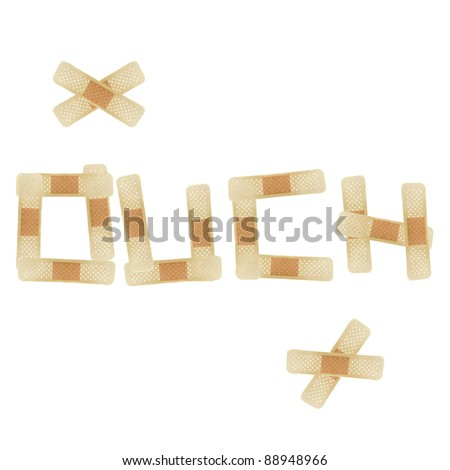 The word OUCH written with bandages over white background - stock photo