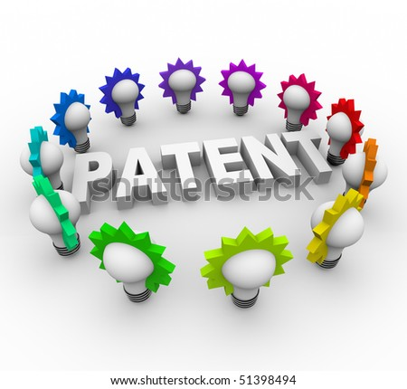 The word Patent surrounded by many colorful light bulbs - stock photo