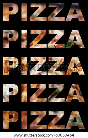 The word pizza with actual pizza textures isolated over black. - stock photo