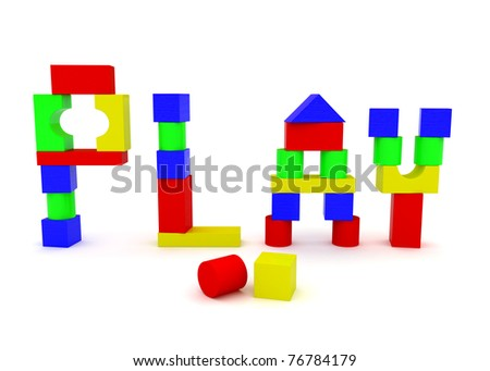 The word PLAY, constructed from children's toy wooden blocks - stock photo