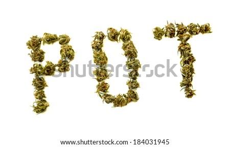 The word Pot written with marijuana buds - stock photo