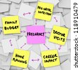 The word pregnancy on a pink sticky note surrounded by words describing important concerns related to being pregnant: family budget, home planning, pre-natal nutrition, doctor visits and career impact - stock photo