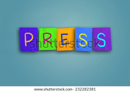 The word Press written on sticky colored paper - stock photo
