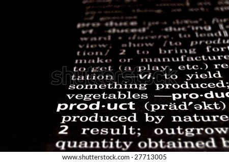 The word product in a dictionary, white on black
