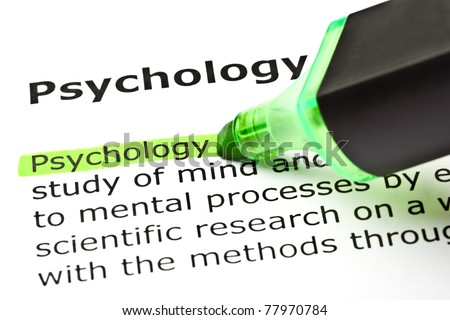 The word Psychology highlighted with green marker.