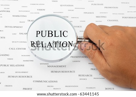 The word PUBLIC RELATION is magnified.