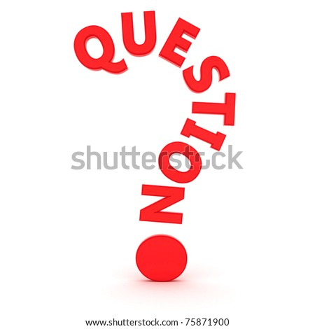"The word ""question"" in the shape of question mark - stock photo"