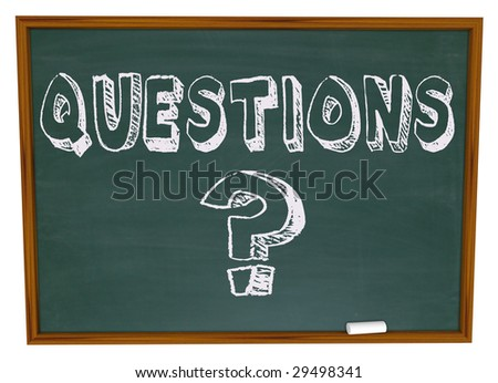 The word Questions and the question mark symbol on a chalkboard - stock photo