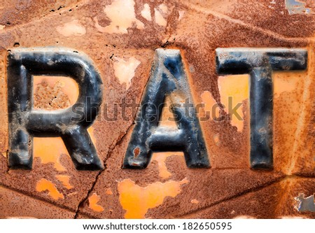 The word rat on rusty background - stock photo