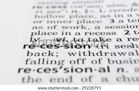 The word Recession in a dictionary, closeup - stock photo