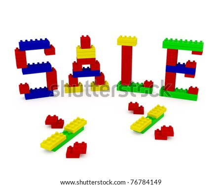 The word SALE, constructed from children's toy plastic blocks - stock photo