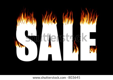 "The word ""SALE"" with flames coming off of it"