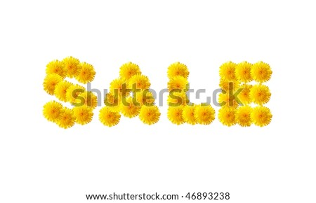 """The word """"SALE"""" written with dandelions. - stock photo"""