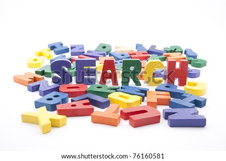 The word search written with colorful wooden letters - stock photo