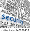 The word Security in 3d letters on a background wall collage with other words like stability, mobility, sustainability, prosperity and reliability - stock photo