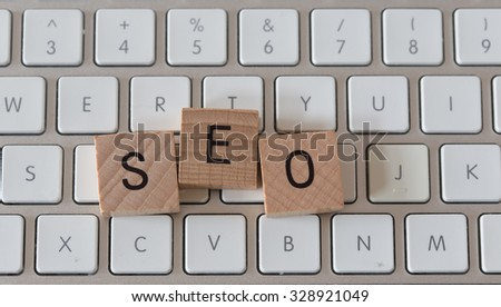 The Word Seo on Wooden Cubes