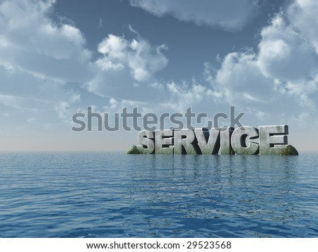the word service at the ocean - 3d illustration