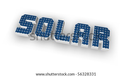 the word solar with solar cells - 3d illustration - stock photo