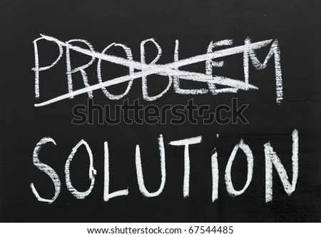 The word solution on a blackboard