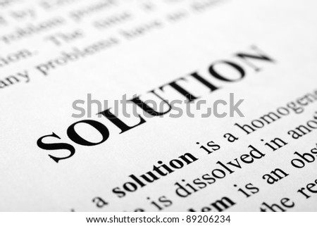 The word solution shot with artistic selective focus. - stock photo