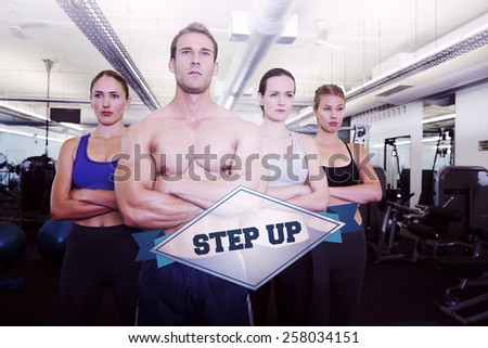 The word step up and serious fitness class posing together against badge - stock photo