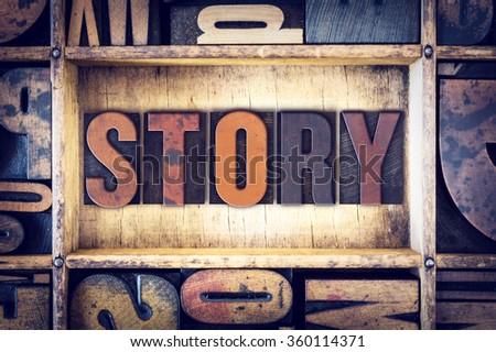 "The word ""Story"" written in vintage wooden letterpress type. - stock photo"