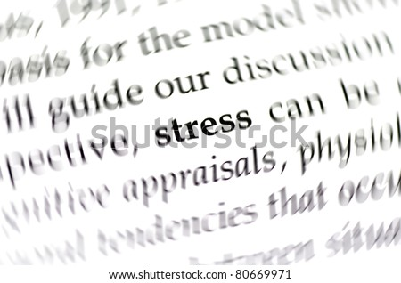 the word stress surrounded by blurred words - stock photo