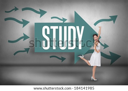 The word study and happy and classy brunette posing against arrows pointing - stock photo