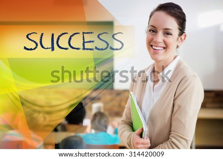 The word success against pretty teacher smiling at camera at back of classroom - stock photo