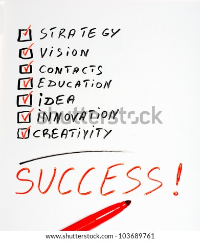 The word Success highlighted with red marker  in a handwritten chart - stock photo