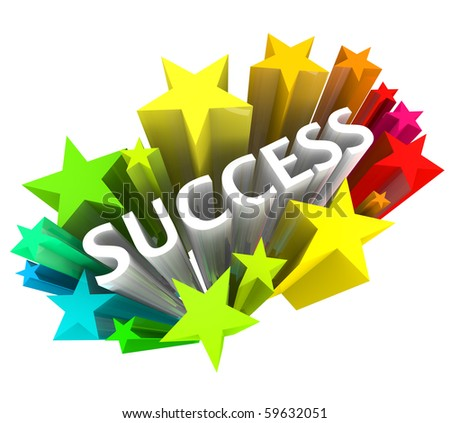 The word success surrounded by colorful 3D stars