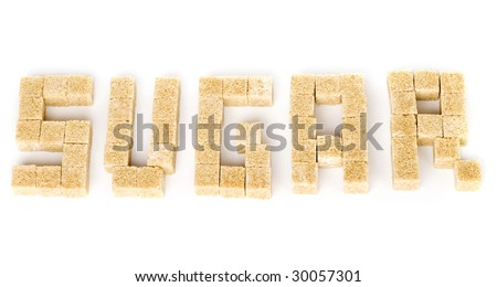 """the word """"sugar"""" composed of pieces of cane sugar - stock photo"""