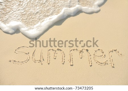 The Word Summer Written in the Sand on a Beach - stock photo