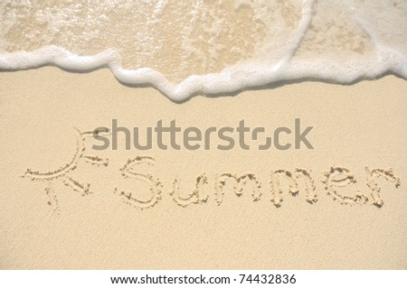 The Word Summer Written in the Sand on a Beach with Drawing of the Sun - stock photo