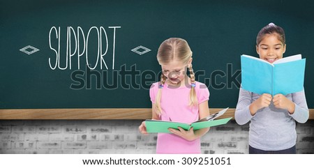The word support and elementary pupils reading against teal - stock photo