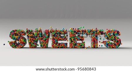 The word sweets in a glass container and full of sweets and candies - stock photo