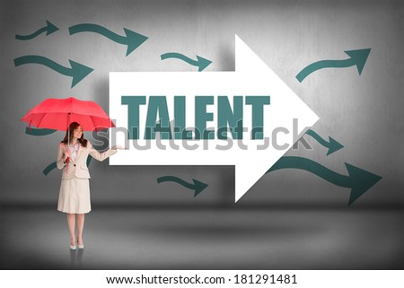 The word talent and attractive businesswoman holding red umbrella against arrows pointing - stock photo
