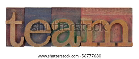 the word team in vintage wooden letterpress type blocks, stained by color ink, isolated on white