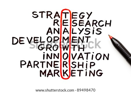 The word Teamwork highlighted with red pen in a handwritten chart - stock photo