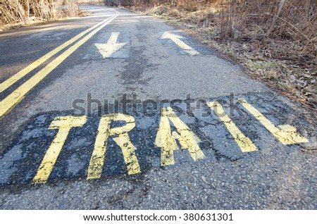 "The word ""trail"" painted on a biking path directs traffic."